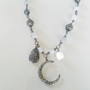Chico's Haylee Short Moon Beaded Pendant Necklace